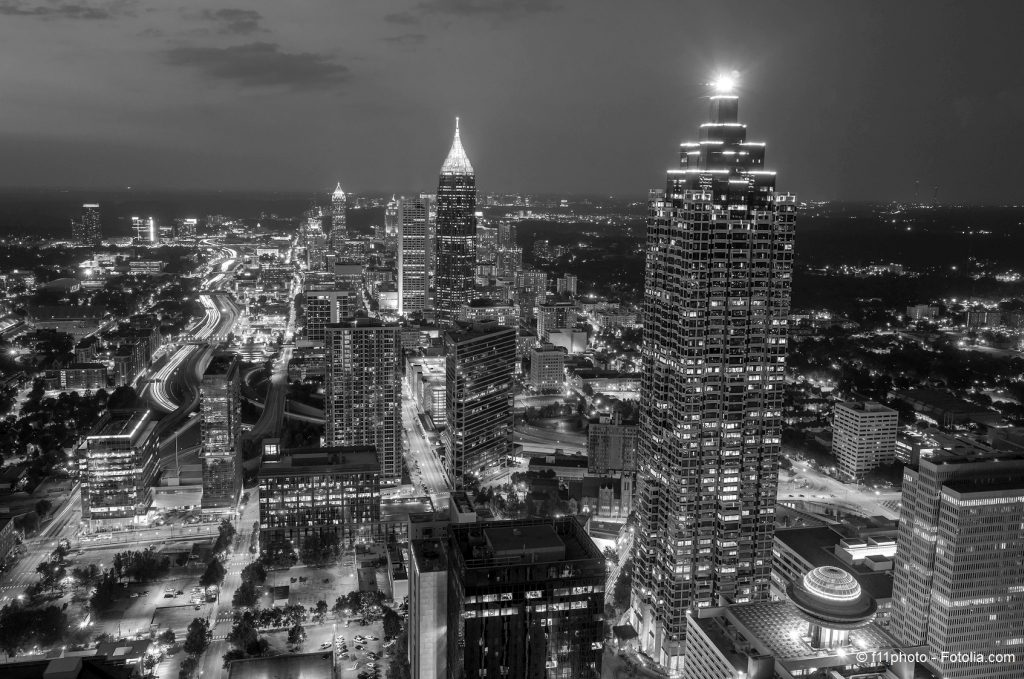 Skyline of downtown Atlanta, Georgia, USA, black, white