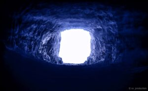 A blue tunnel