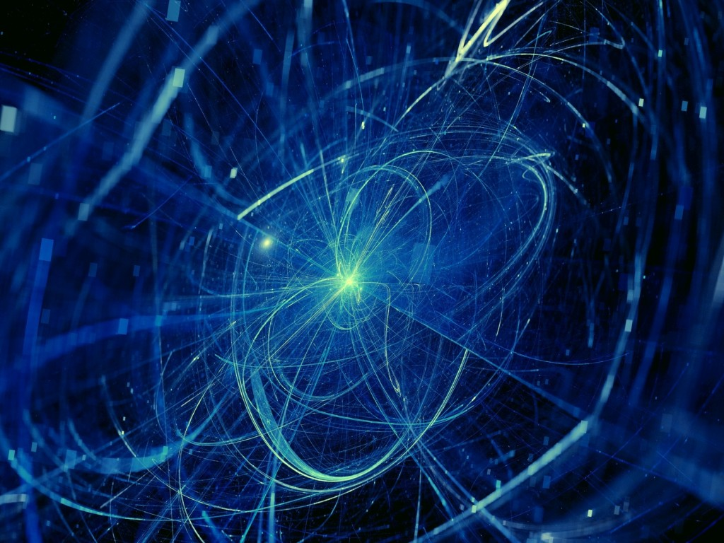 Blue glowing trajectories in space, computer generated