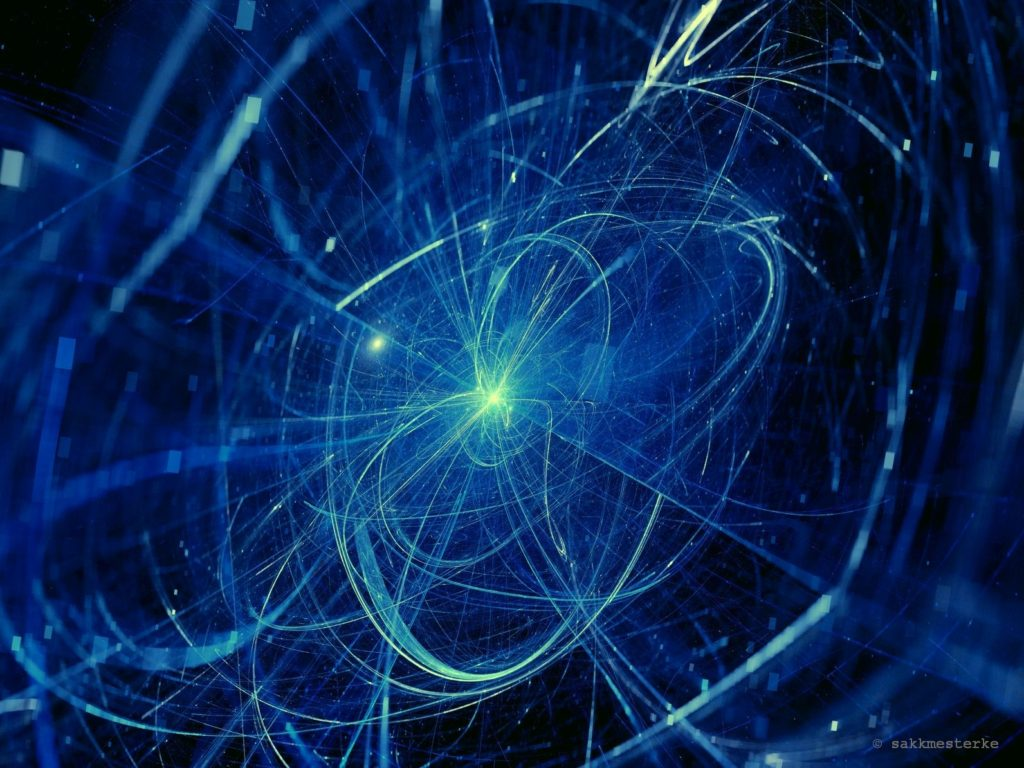 Blue glowing trajectories in space, computer generated abstract background