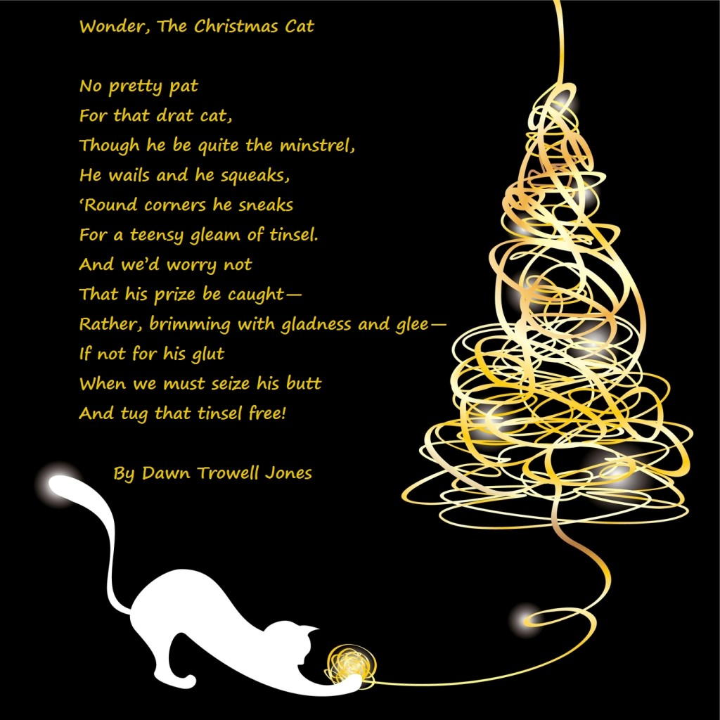 Poem with a stylized tangle christmas tree with a cat. Vector illustration