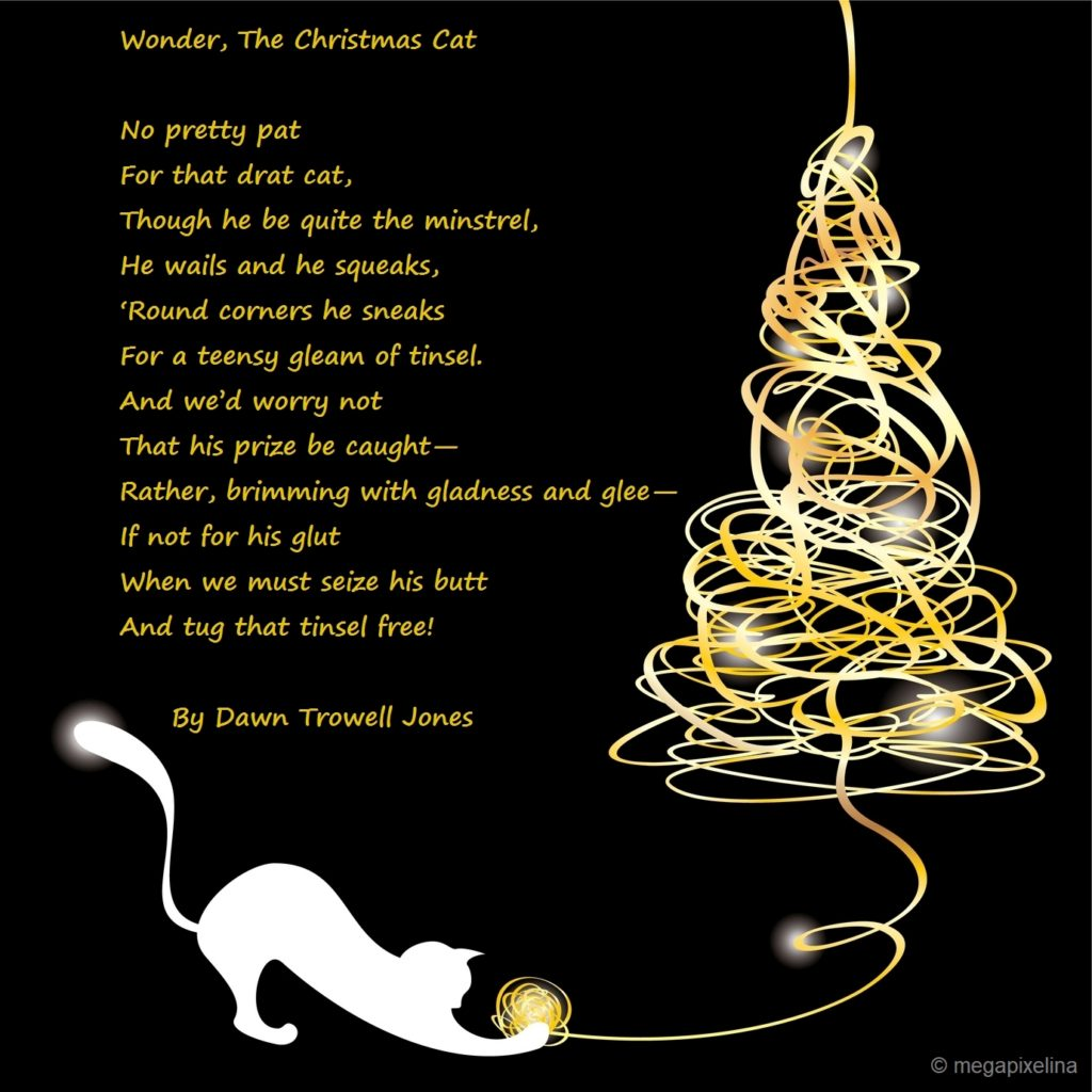 Stylized christmas tree with poem by Dawn Trowell Jones