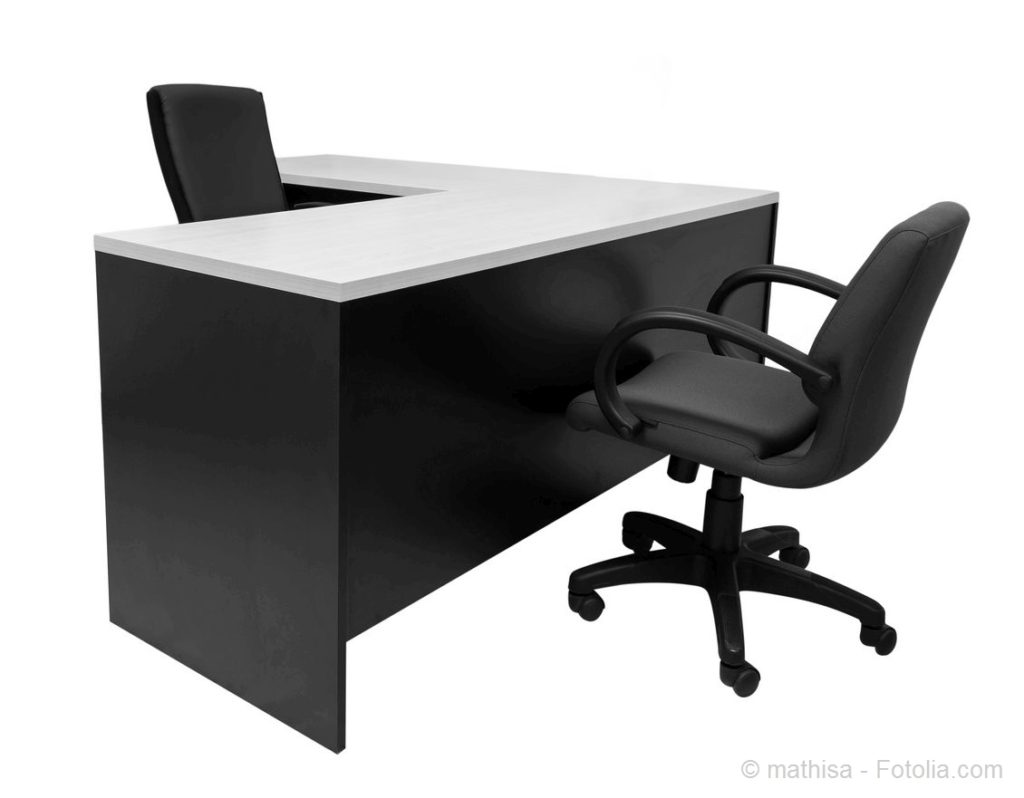 Desk and chairs at modern office in white with clipping