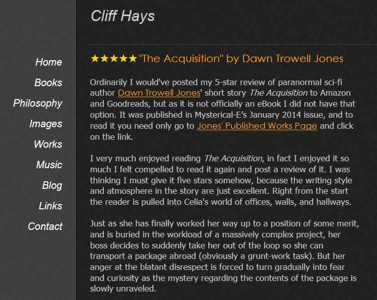 Image of Cliff Hays' post on his website
