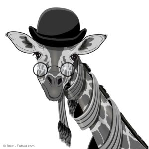 Illustration of a Giraffe with Glasses and a Bowler Hat