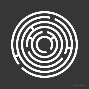 Circle Ring Maze on Black Background. Vector illustration