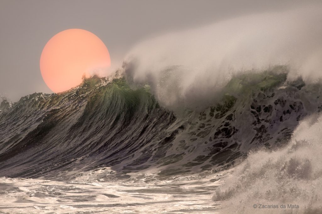 Beautiful big breaking sea wave at sunset