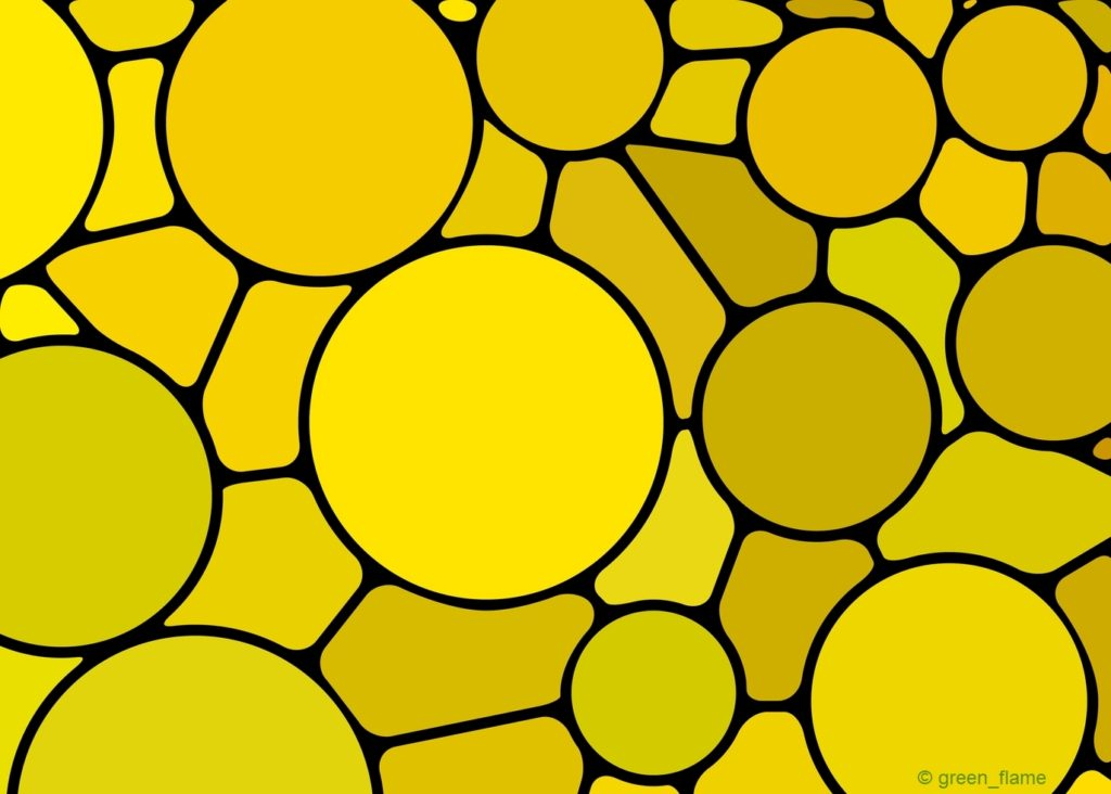 abstract vector stained-glass mosaic background - yellow circles