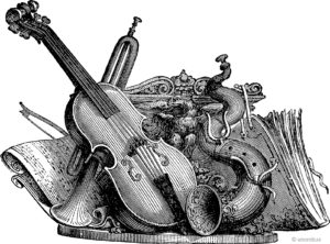 Vintage drawing musical instruments