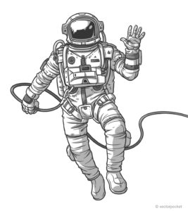 Vector illustration cosmonaut, astronaut on a white background.
