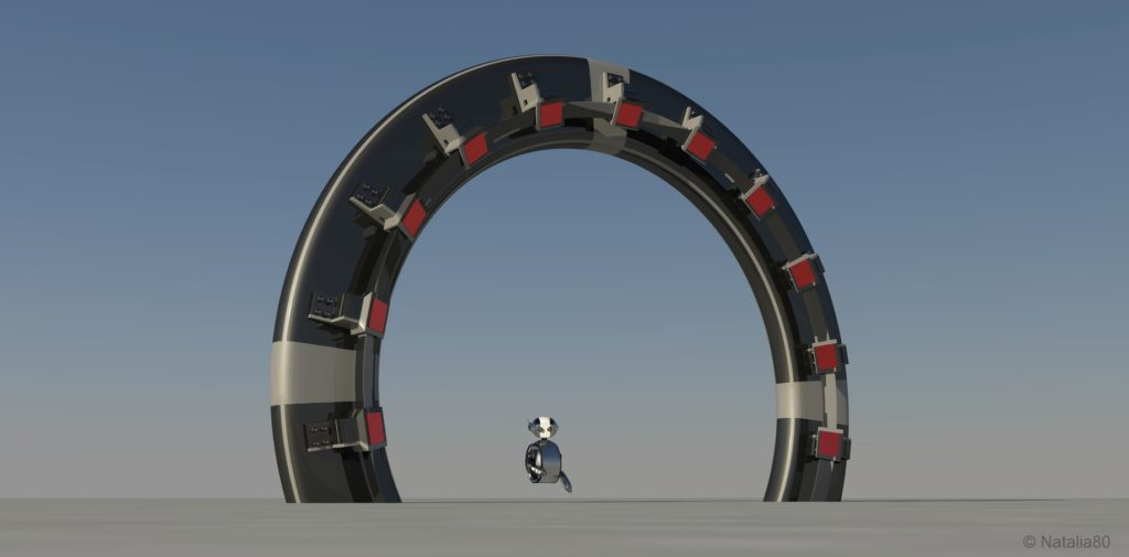 Space Gate into other world 3d raw render