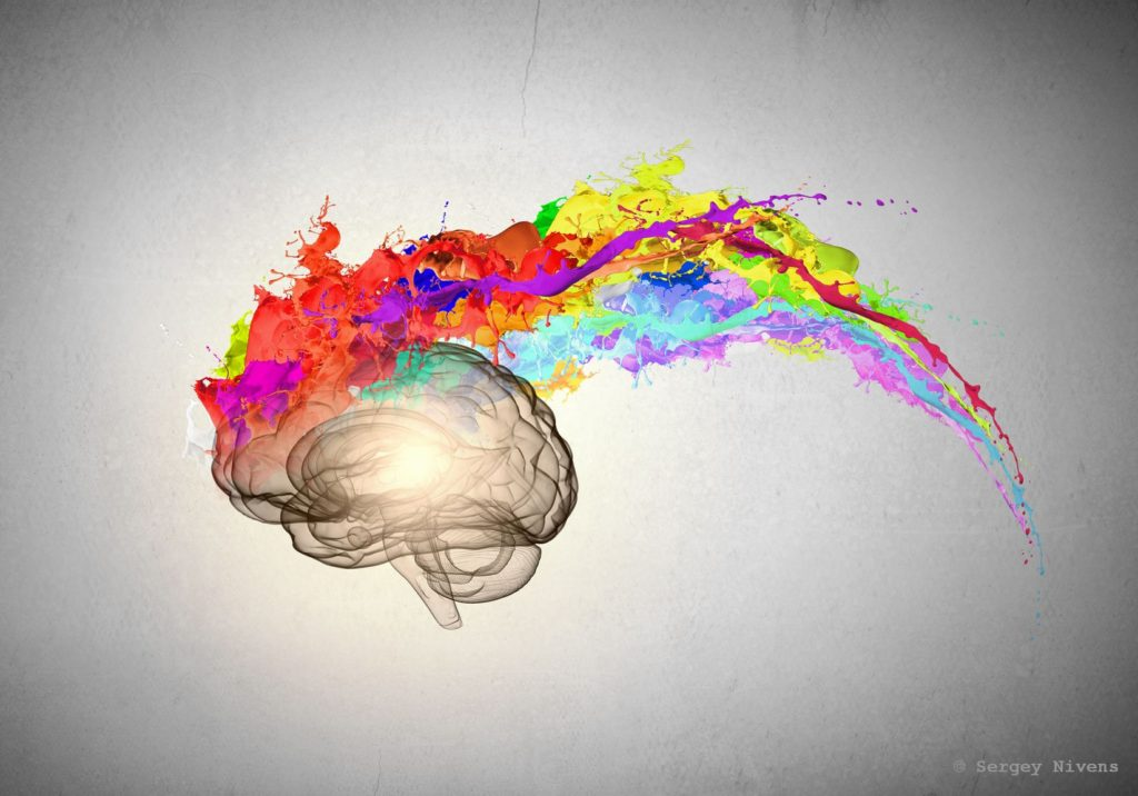 Color emanating from brain
