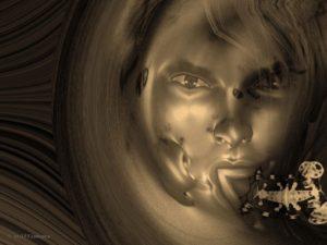 Woman's face. Sepia color