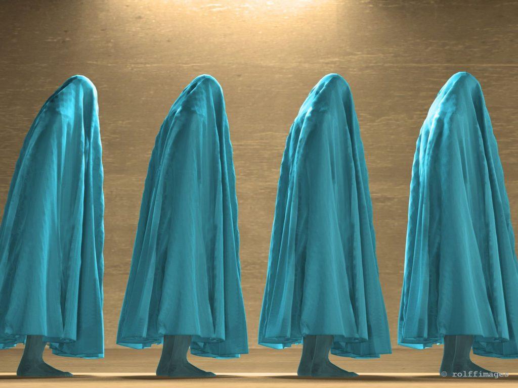 Human figures under cloth